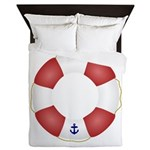 Red and White Life Saver Queen Duvet