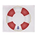 Red and White Life Saver Throw Blanket
