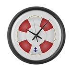 Red and White Life Saver Large Wall Clock