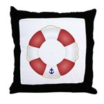 Red and White Life Saver Throw Pillow