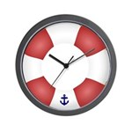 Red and White Life Saver Wall Clock