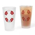 Red and White Life Saver Drinking Glass