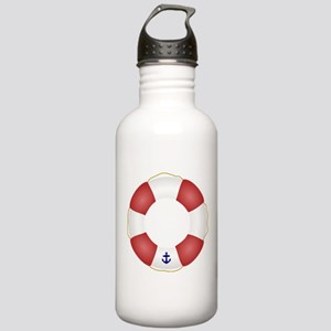 Red and White Life Saver Stainless Water Bottle 1.