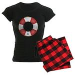 Red and White Life Saver Women's Dark Pajamas