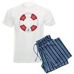 Red and White Life Saver Men's Light Pajamas
