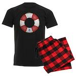 Red and White Life Saver Men's Dark Pajamas