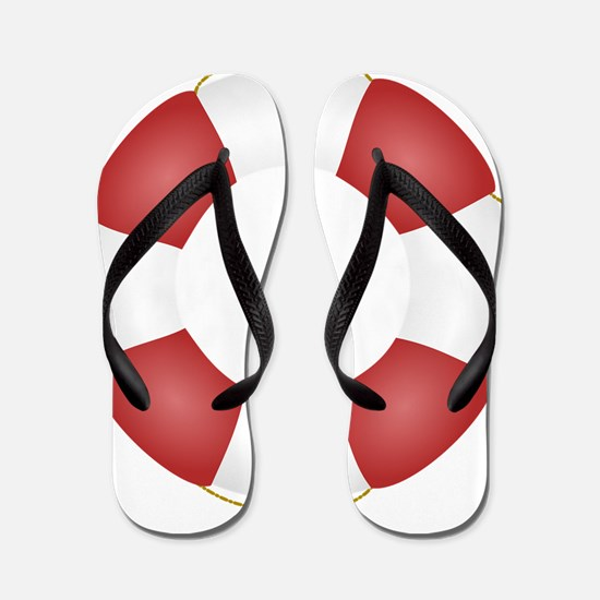 Red and White Life Saver Flip Flops