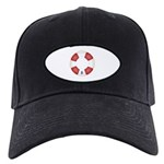 Red and White Life Saver Black Cap