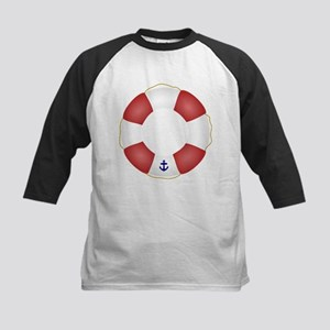 Red and White Life Saver Kids Baseball Jersey