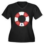 Red and White Life Saver Women's Plus Size V-Neck