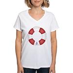 Red and White Life Saver Women's V-Neck T-Shirt