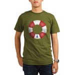 Red and White Life Saver Organic Men's T-Shirt (da
