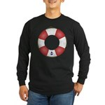 Red and White Life Saver Long Sleeve Dark T-Shirt