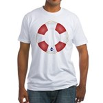 Red and White Life Saver Fitted T-Shirt