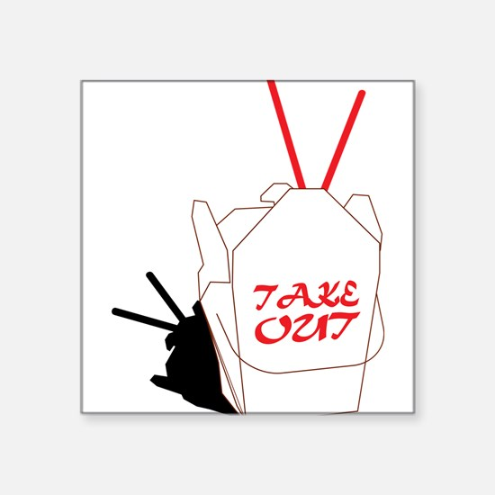 "Take Out Food Square Sticker 3"" x 3"""