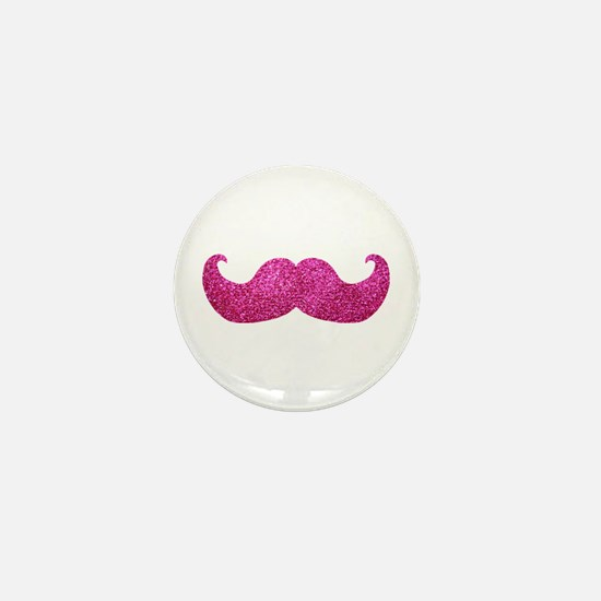 Pink Bling Mustache (faux glitter) Mini Button