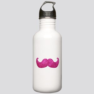 Pink Bling Mustache (faux glitter) Stainless Water