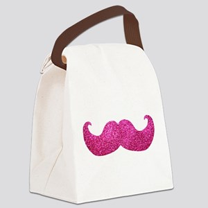 Pink Bling Mustache (faux glitter) Canvas Lunch Ba