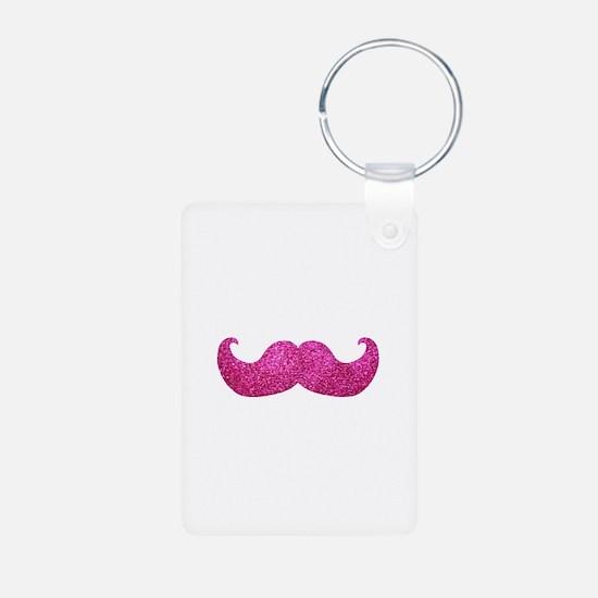 Pink Bling Mustache (faux glitter) Aluminum Photo