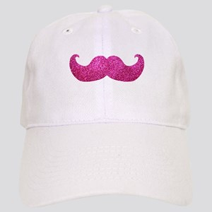 Pink Bling Mustache (faux glitter) Cap
