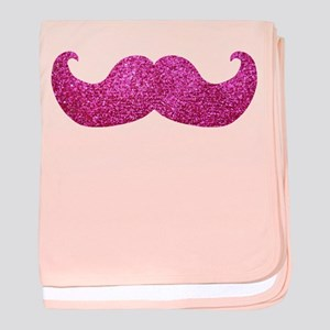 Pink Bling Mustache (faux glitter) baby blanket