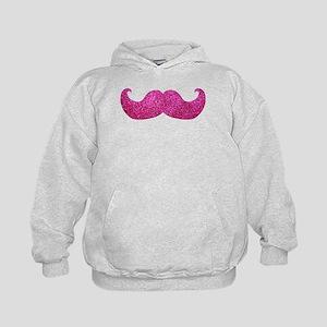 Pink Bling Mustache (faux glitter) Kids Hoodie