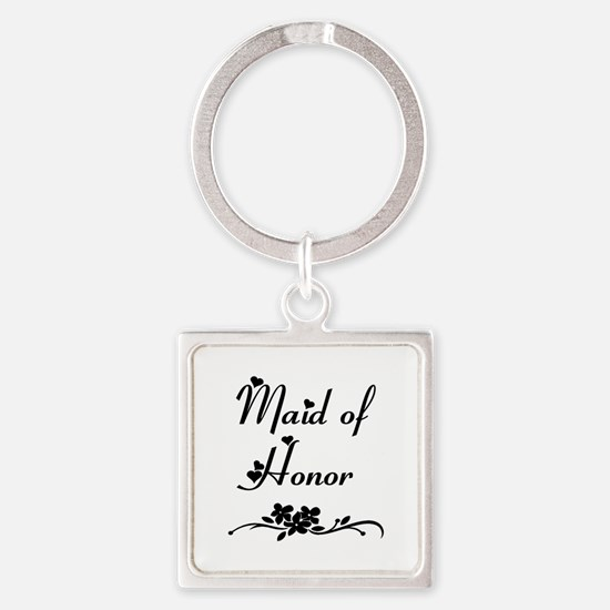 Classic Maid of Honor Square Keychain