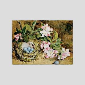 Apple Blossoms Bird Nest Vintage Floral 5'x7'Area