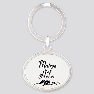 Classic Matron of Honor Oval Keychain