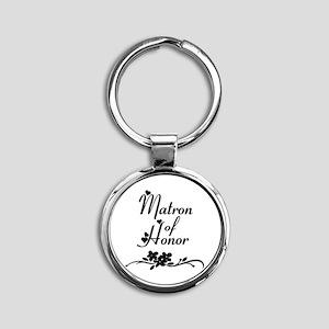 Classic Matron of Honor Round Keychain