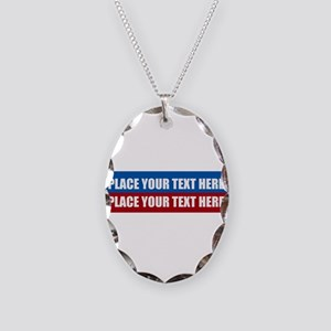 America Text Message Necklace Oval Charm
