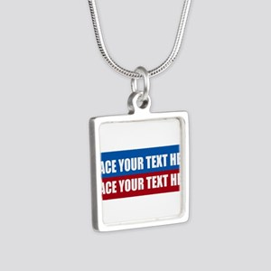 America Text Message Silver Square Necklace