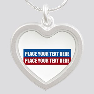 America Text Message Silver Heart Necklace