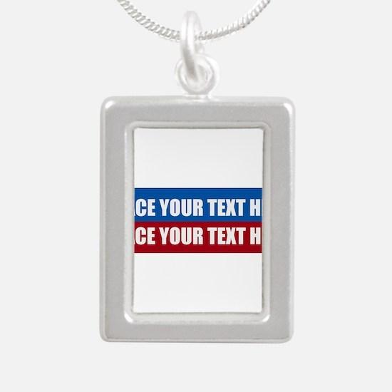 America Text Message Silver Portrait Necklace