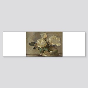 Vintage Painting of White Roses Sticker (Bumper)