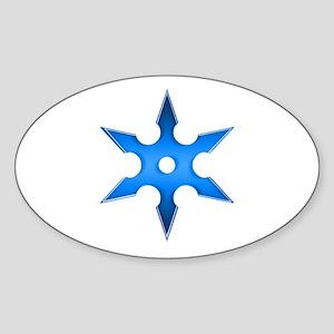 Shuriken Blue Ninja Star Sticker (Oval)