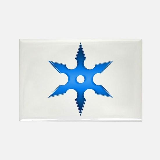 Shuriken Blue Ninja Star Rectangle Magnet (10 pack