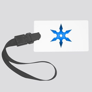 Shuriken Blue Ninja Star Large Luggage Tag