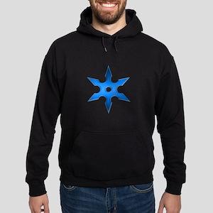 Shuriken Blue Ninja Star Hoodie (dark)