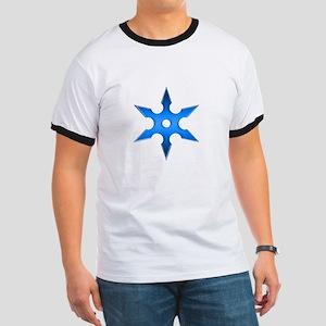 Shuriken Blue Ninja Star Ringer T
