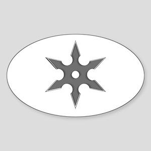 Shuriken Silver Ninja Star Sticker (Oval)