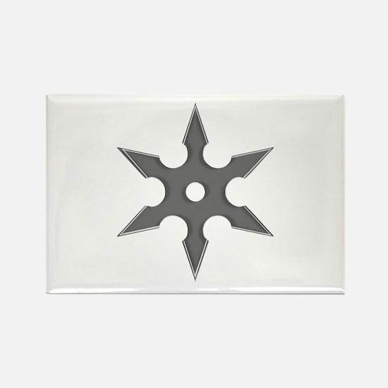 Shuriken Silver Ninja Star Rectangle Magnet