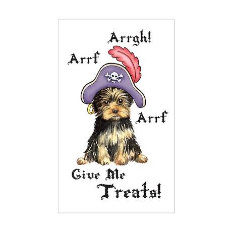 Yorkie Pirate Rectangle Sticker