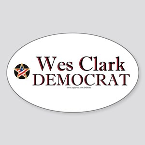 """Wes Clark Democrat"" Oval Sticker"