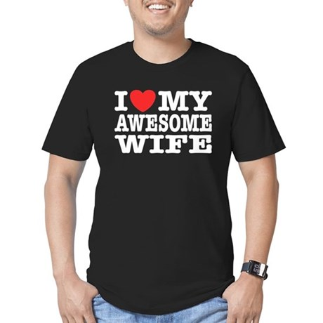 I Love My Awesome Wife Men's Fitted T-Shirt (dark)