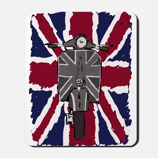Painted Vintage scooter and union jack art Mousepa