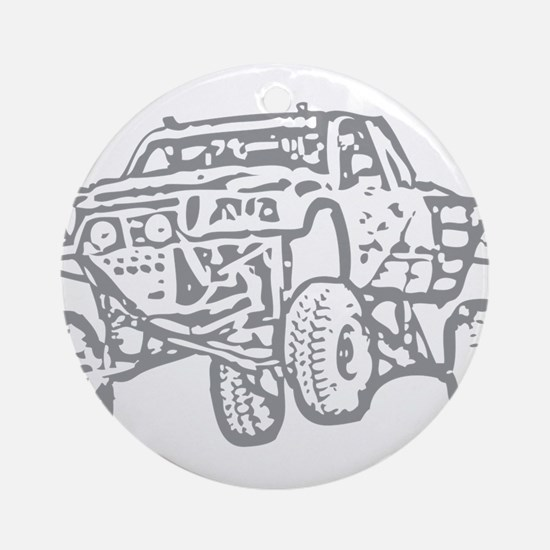 Off-Road Race Truck Grey Ornament (Round)
