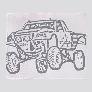 Off-Road Race Truck Grey Throw Blanket