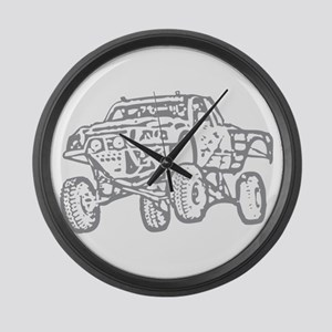 Off-Road Race Truck Grey Large Wall Clock