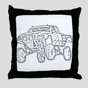 Off-Road Race Truck Grey Throw Pillow